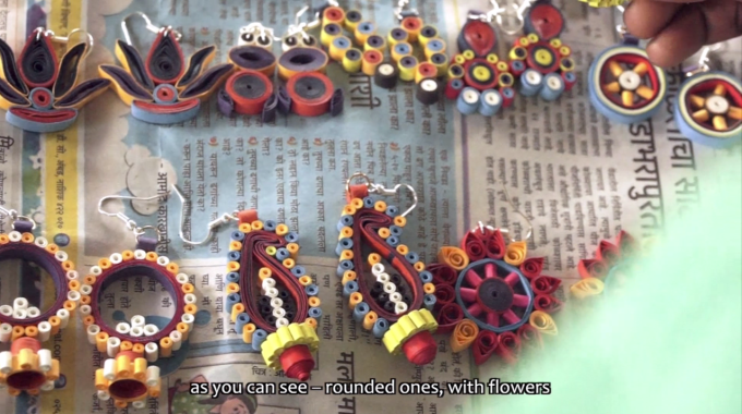 Quilled Paper Earrings | Katkari Tribalpreneurs Project | Sapana.org